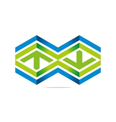 Arrow letter line hexagon design sym vector