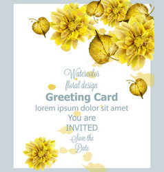 autumn golden leaves card watercolor vector image