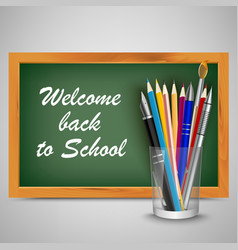 back to school with green board and supplies vector image