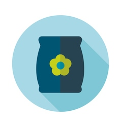 Bag sack flower seed flat icon vector image