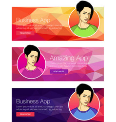 Banner or header of mobile cell app vector