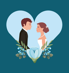 beautiful bride and groom in heart love wedding vector image