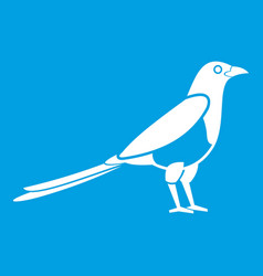 Bird magpie icon white vector