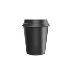 black blank realistic paper coffee cup with lid vector image