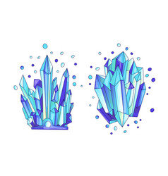 Blue crystal cartoon cute quartz vector