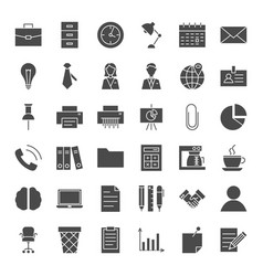 Business office solid web icons vector