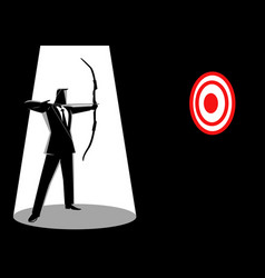 businessman aiming a red target with arrow vector image