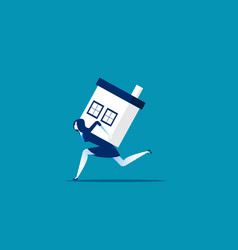 Businesswoman carrying house concept business vector