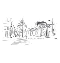 California los angeles sketch line usa landscape vector
