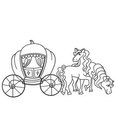 Carriage pumpkin and horses transport for the vector