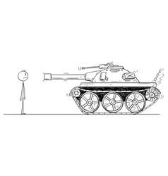 Cartoon brave unarmed man facing alone the vector