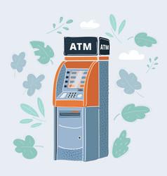cash machine atm on white vector image
