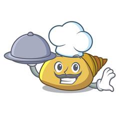 Chef with food mollusk shell mascot cartoon vector