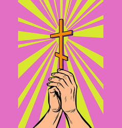 christian orthodox cross in the light the hands vector image