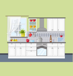 Classic kitchen interior in flat style vector