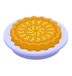 Cooked apple pie icon isometric style vector