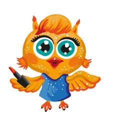 Cute owl cartoon character make-up artist vector