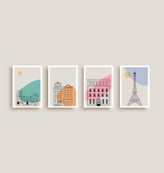 cute paris city houses doodle poster collection vector image