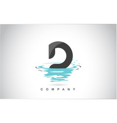 d letter logo design with water splash ripples vector image