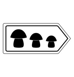 Direction sign for mushrooms on white vector