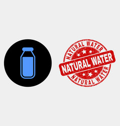 drinking bottle icon and distress natural vector image