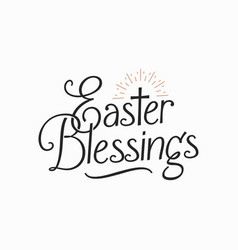 easter blessings vintage letter happy card sign vector image