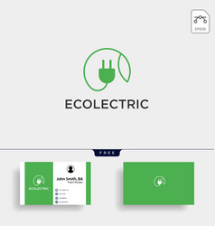 Electrical leaf simple line logo template icon vector