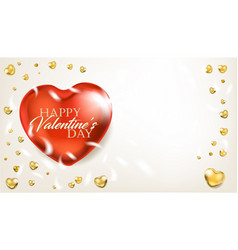 Elegance light banner with big red heart vector