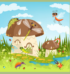 Fairytale landscape with funny insects vector