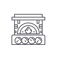 fireplace brick line icon concept fireplace brick vector image