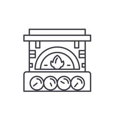 Fireplace brick line icon concept fireplace brick vector