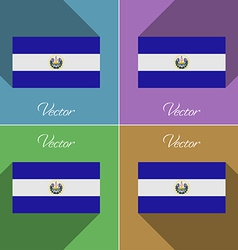 Flags El Salvador Set of colors flat design and vector