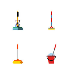 flat icon broomstick set of sweep broom cleaner vector image