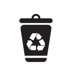 Flat icon in black and white eco trashcan vector