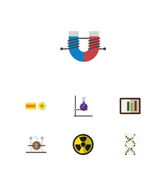 Flat icon study set of flask attractive force vector