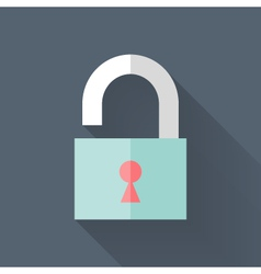 Flat open padlock icon over blue vector