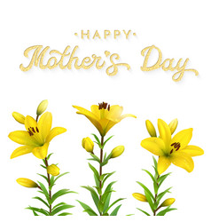 floral card for mothers day with flowers lilies vector image