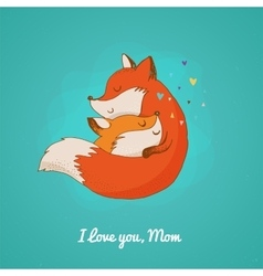Fox greetin card Mothers day vector image