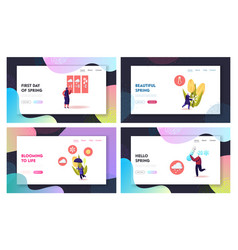 Freezing spring and cold weather landing page vector