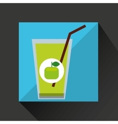 Fresh juice green apple and cup glass straw design vector