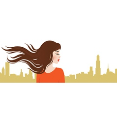 Girl on the background of the city vector