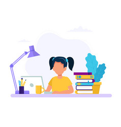 girl studying with computer and books back to vector image