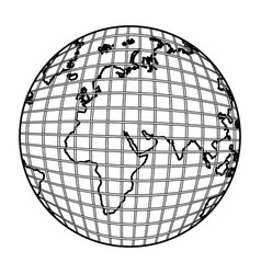 Gobal planet map icon vector