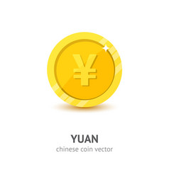 Gold chinese yuan coin flat style vector