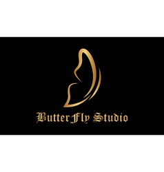 Golden butterfly logo vector image