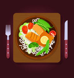 Grilled salmon steaks with rice and vegetables vector