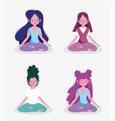 Group women practicing yoga pose lotus activity vector