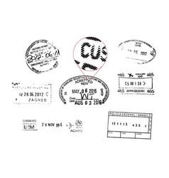 Grunge passport stamps vector