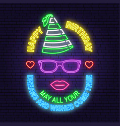 Happy birthday neon sign may all your dreams and vector