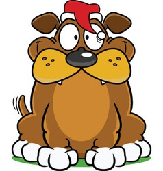 Happy Dog In Santa Hat vector image